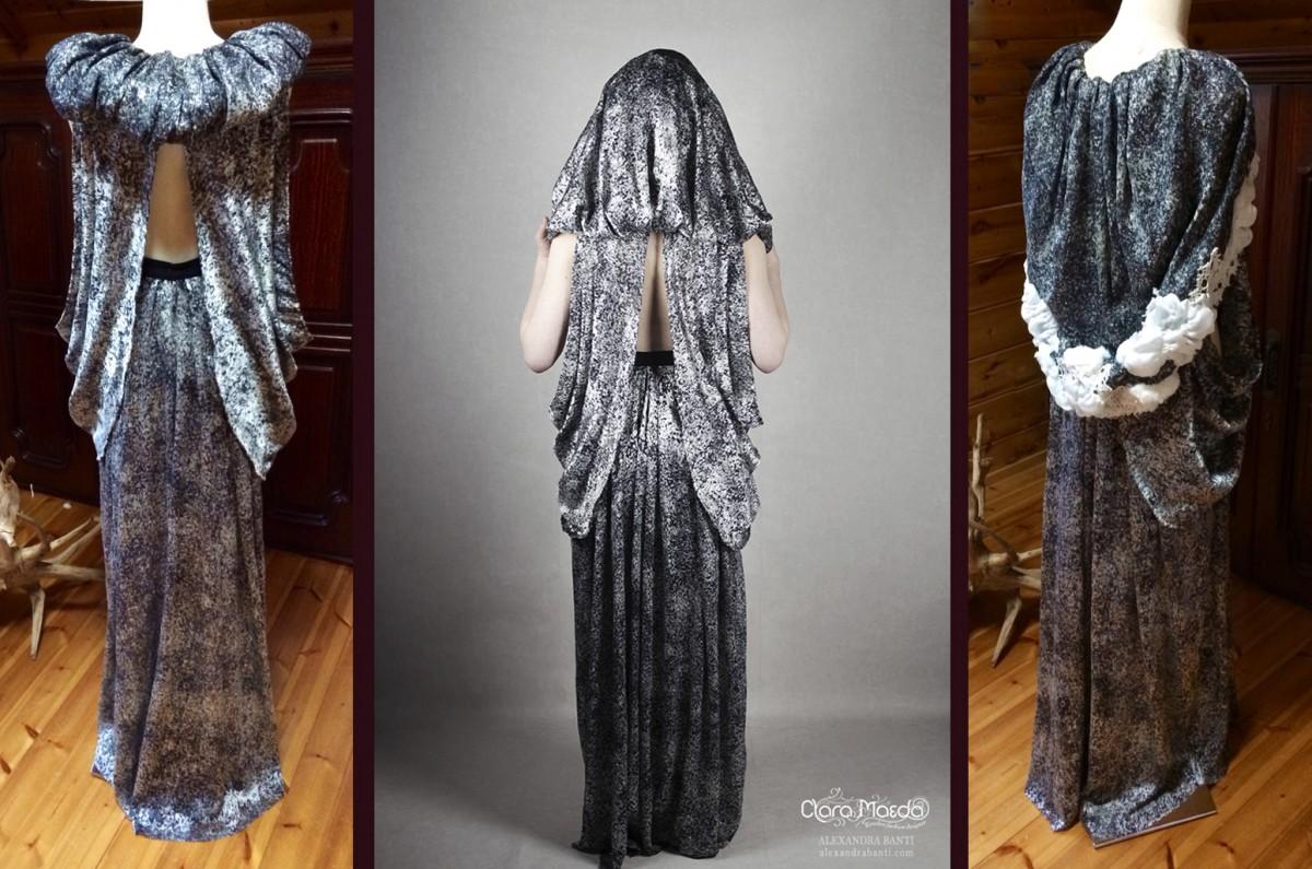 art nouveau dress, couture hood dress